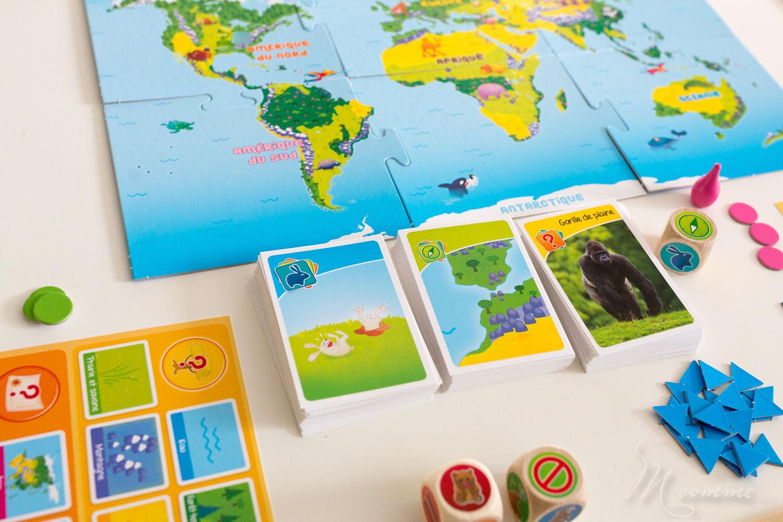 Bioviva junior, élu étoile du jouet 2018, fabriqué en France et éco-conçu, pour les 5 ans et plus, permet à travers 3 épreuves de découvrir les différences espèces animales et les situer dans leur milieu naturel avec, en prime, de la rigolade ! #bioviva #jeu #apprentissage #nature #animaux