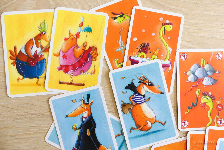 jeu de cartes de voyage poule renard vipère